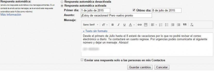 respuesta automatica