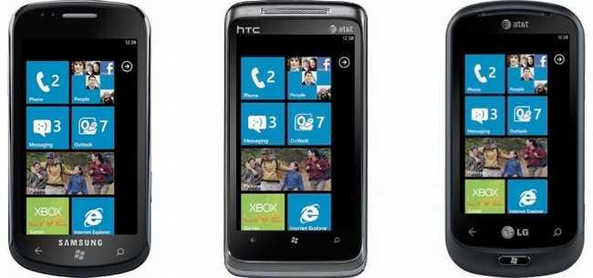 Samsung, HTC y LG fueron algunos de los fabricantes que produjeron inicialmente equipos con Windows Phone.