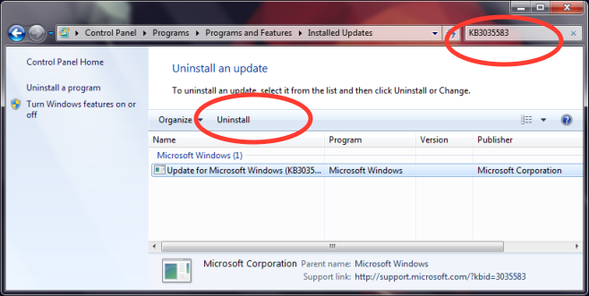 KB3035583-uninstall