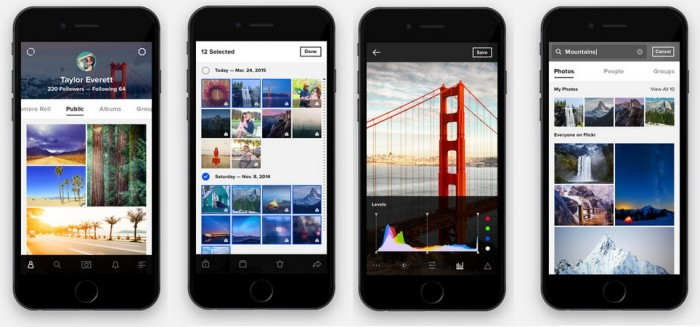 Además de la interfaz web Flickr posee una app gratuita para visualizar, subir y organizar las fotos desde Android o iPhone.