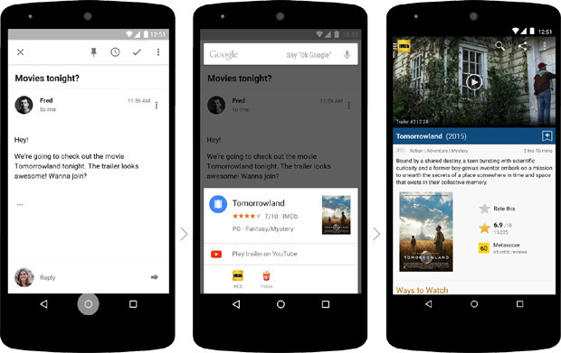 Now on Tap permite llamar a Google Now desde cualquier app y el sistema obtendrá información relevante del contenido.