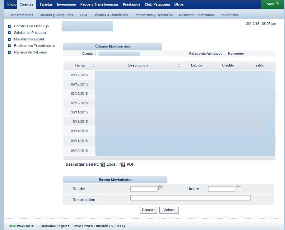 Un ejemplo de un portal de banca en línea. En la imagen se pueden visualizar los registros de todas las transacciones por fecha y monto y la posibilidad de descargar un comprobante de estos movimientos.