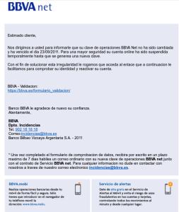 Uno de los famosos emails falsificados que intentan parecerse a los de un banco.