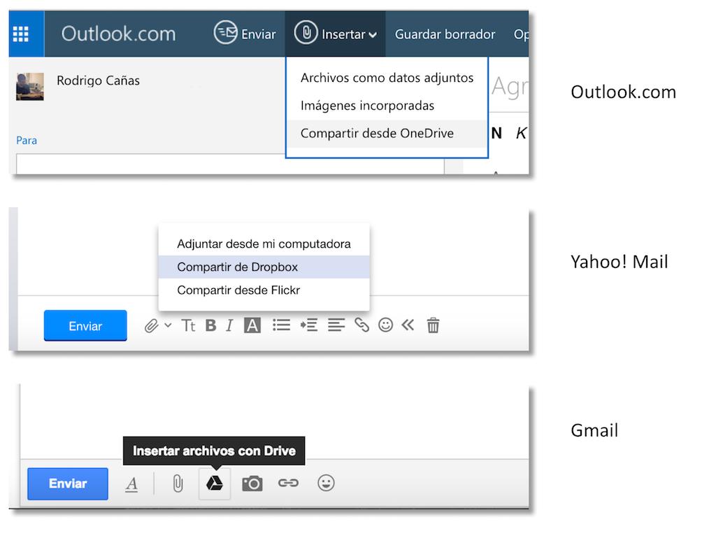 Los tres servicios de correo más grandes ofrecen su propia solución para el envío de ficheros de gran tamaño, aunque todas tienen limitaciones.