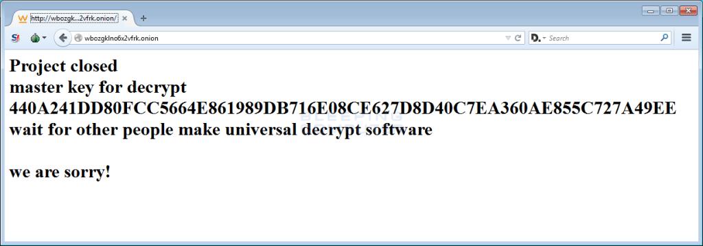 El mensaje que los creadores de Teslacrypt dejaron al despedirse de los usuarios a quienes estafaron.