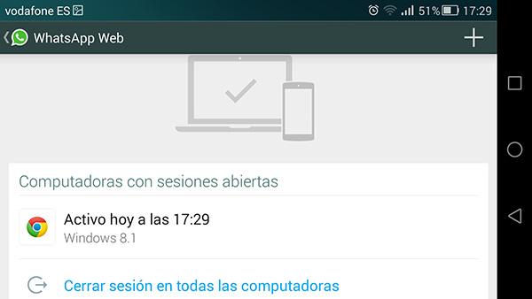 Las preferencias de la app muestran claramente las sesiones activas.