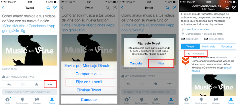 Fijar Tweet en Twitter en dispositivos iOS o Android