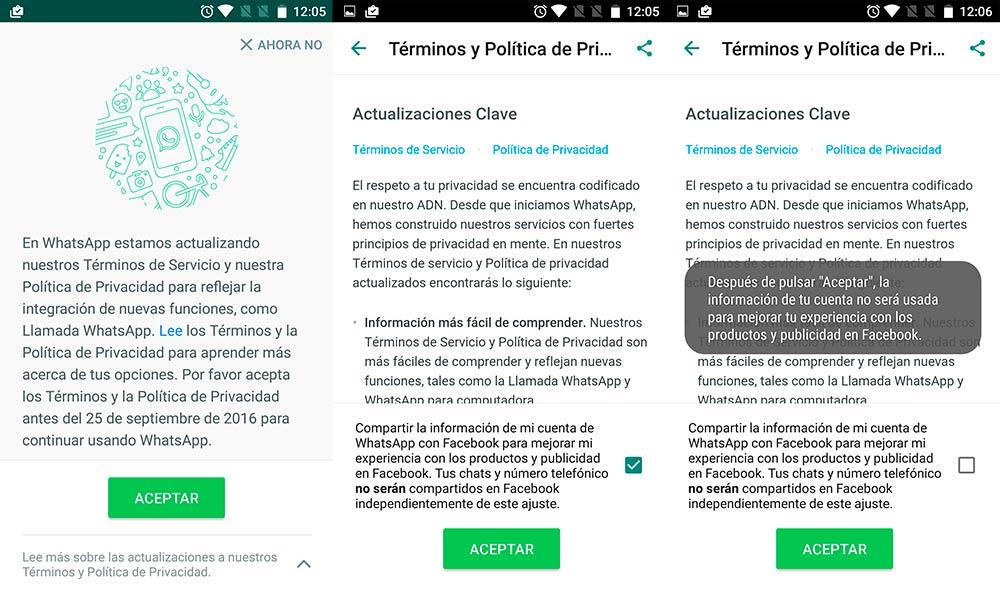 nuevos términos y condiciones en WhatsApp