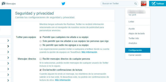 doble check azul Twitter
