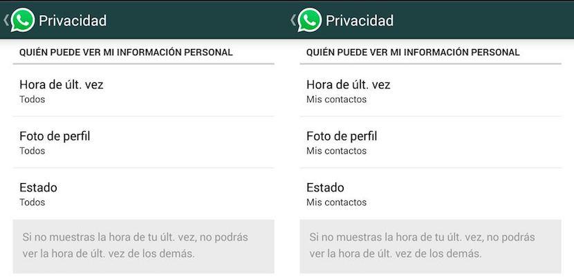 ajustar privacidad en WhatsApp