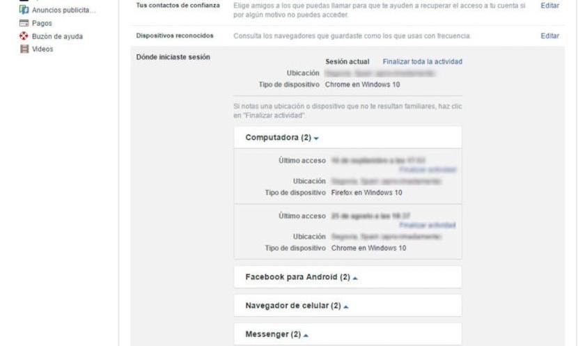 cómo cerrar sesión de manera remota en Facebook