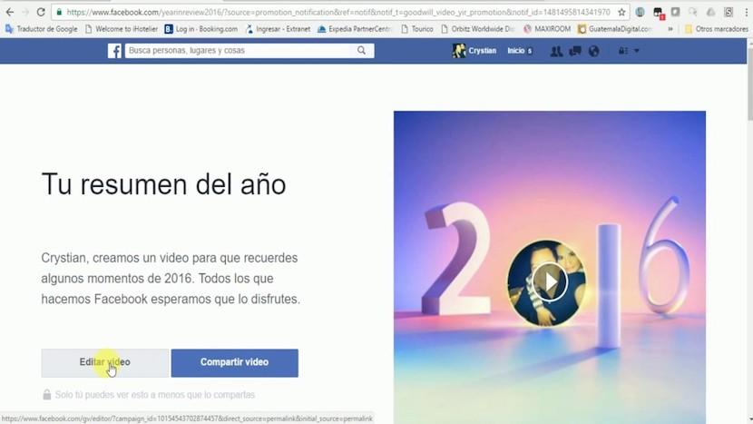 video resumen de Facebook 2016