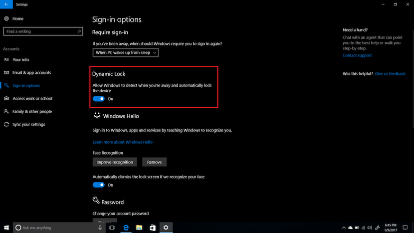 dynamic lock en windows 10