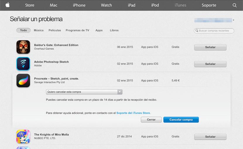 devolver aplicaciones iOS