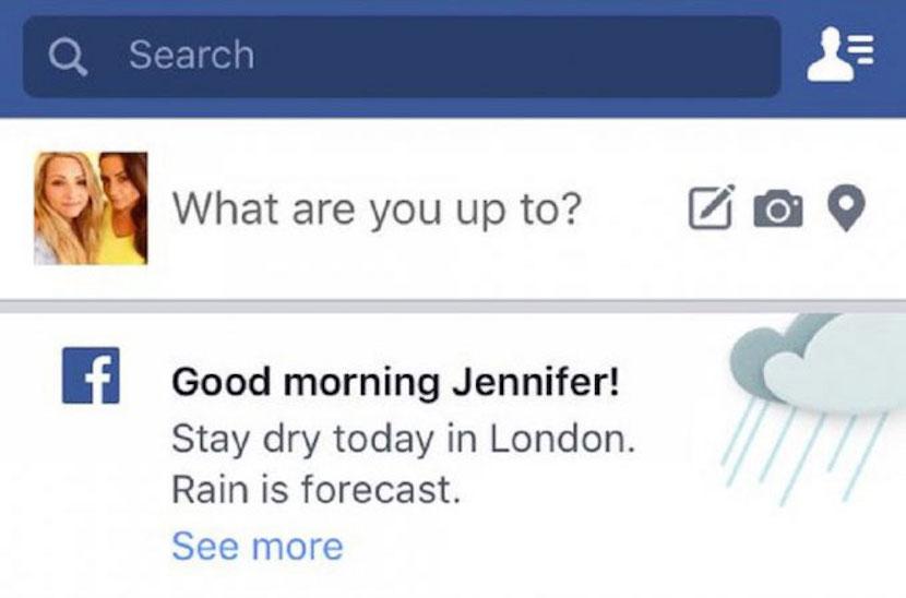 tiempo o clima en Facebook