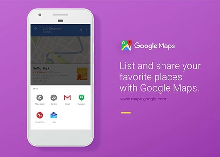 Google Maps listas de lugares