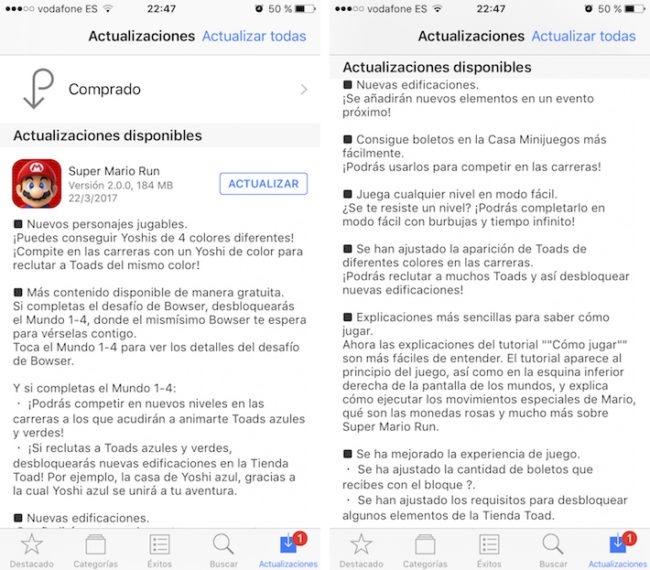 Mario Run actualización iOS
