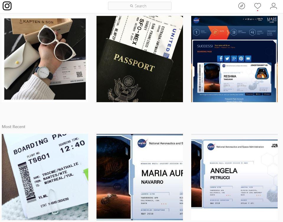 """Avión: el resultado a buscar """"boarding pass"""" en Instagram"""