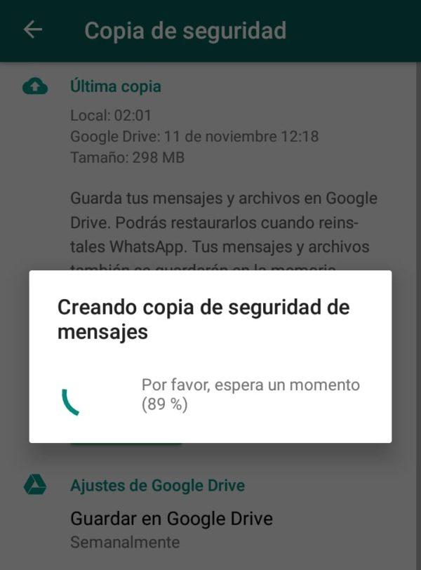 Copia de seguridad google