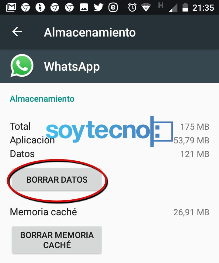Borrar datos WhatsApp