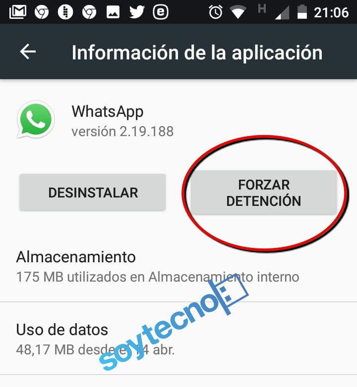 Detener WhatsApp