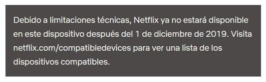 Mensaje de Netflix